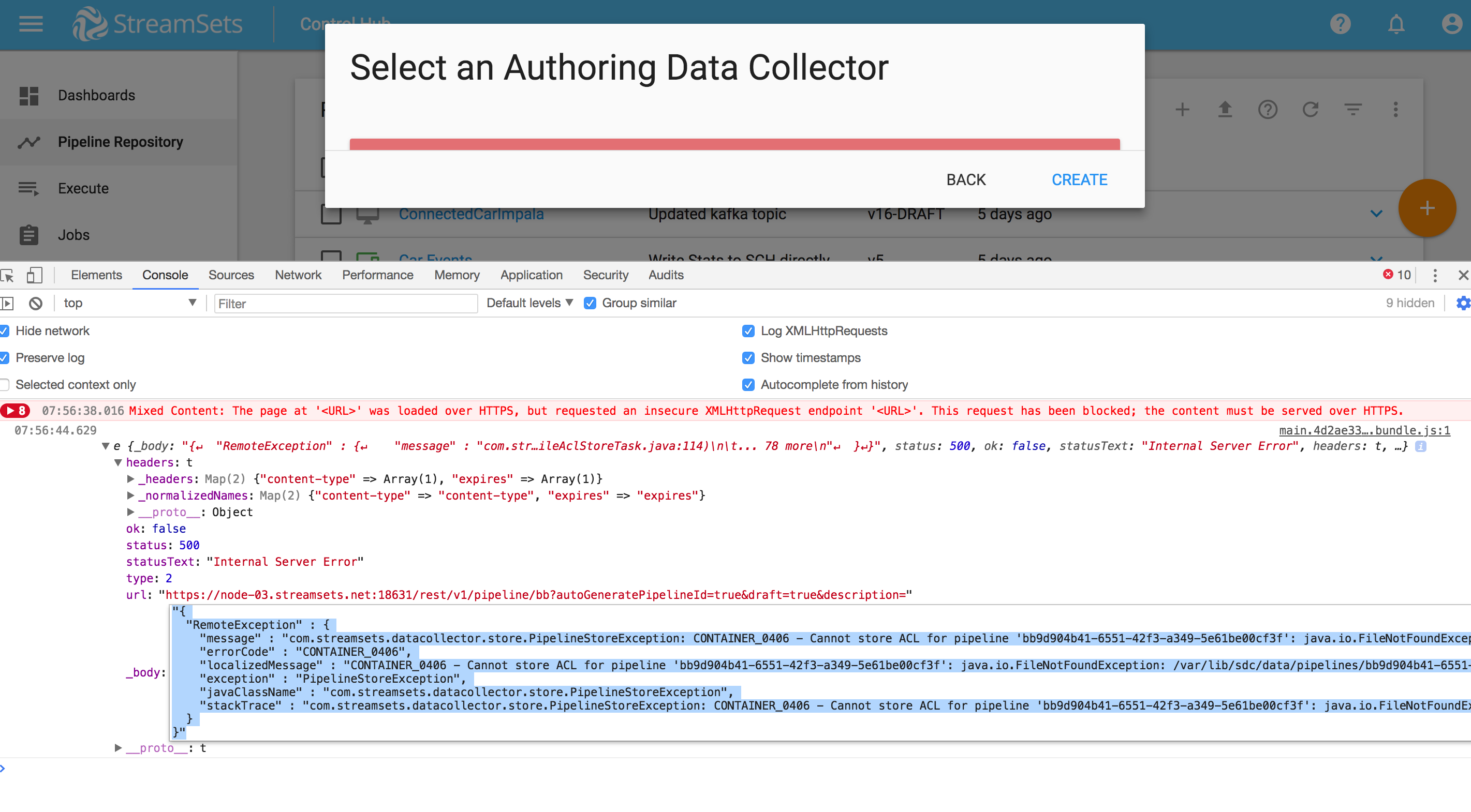SDC-8629] Cannot create a pipeline: acl json-tmp (No such