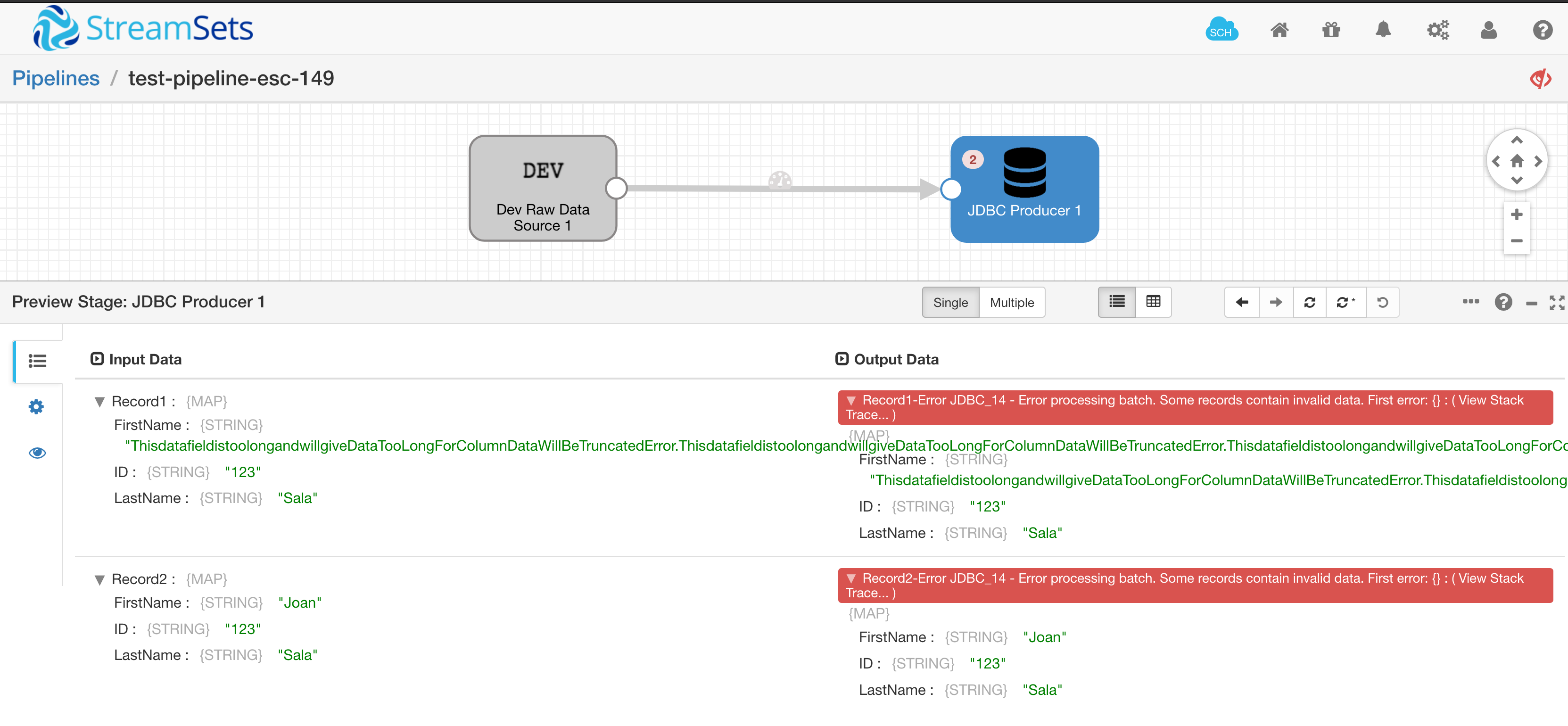 SDC-10671] Missmatch between error value and record value - Jira